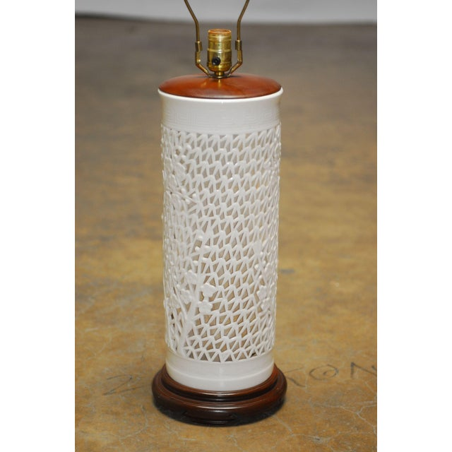 Blanc De Chine Reticulated Porcelain Table Lamp - Image 3 of 7