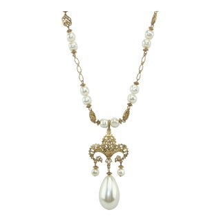 1950s Baroque Gilt Filigree Necklace With Pearl Pendant For Sale