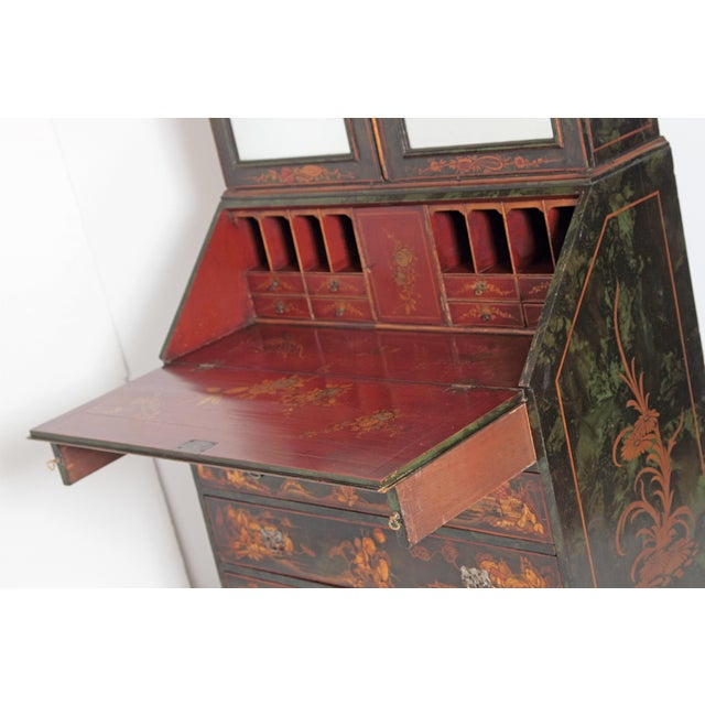 Early 20th Century English Chinoiserie Secretary With Mirrored Doors For Sale - Image 5 of 13