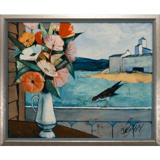 """Circa 1965 """"Le Fleurs"""" Still Life and Landscape Oil Painting by Charles Levier, Framed For Sale"""