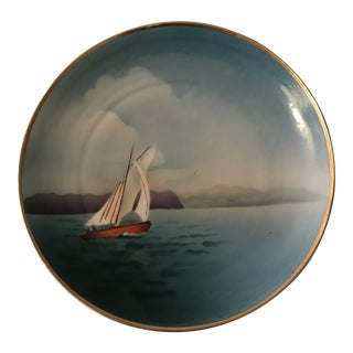 Vintage Nautical Hand Painted Plate For Sale