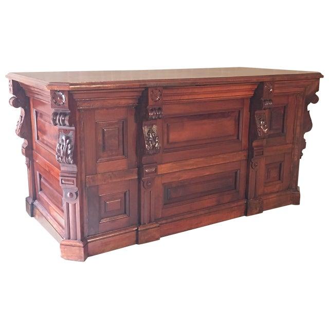 19th Century Victorian Mahogamy Palm Impresionist Pedestal Desk For Sale