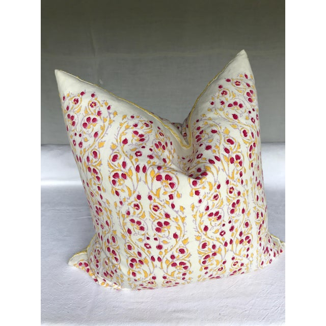 John Robshaw Block Print Cotton Pillow For Sale In New York - Image 6 of 6