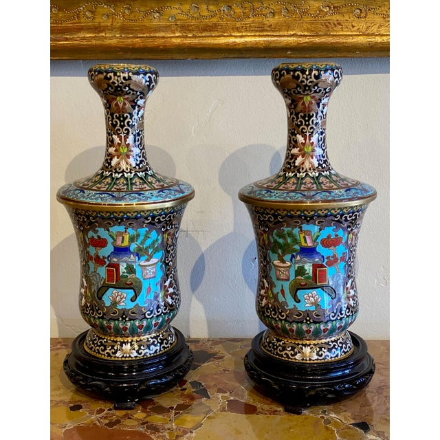 Blue 19th Century Chinese Cloisonné Vases-a Pair For Sale - Image 8 of 10