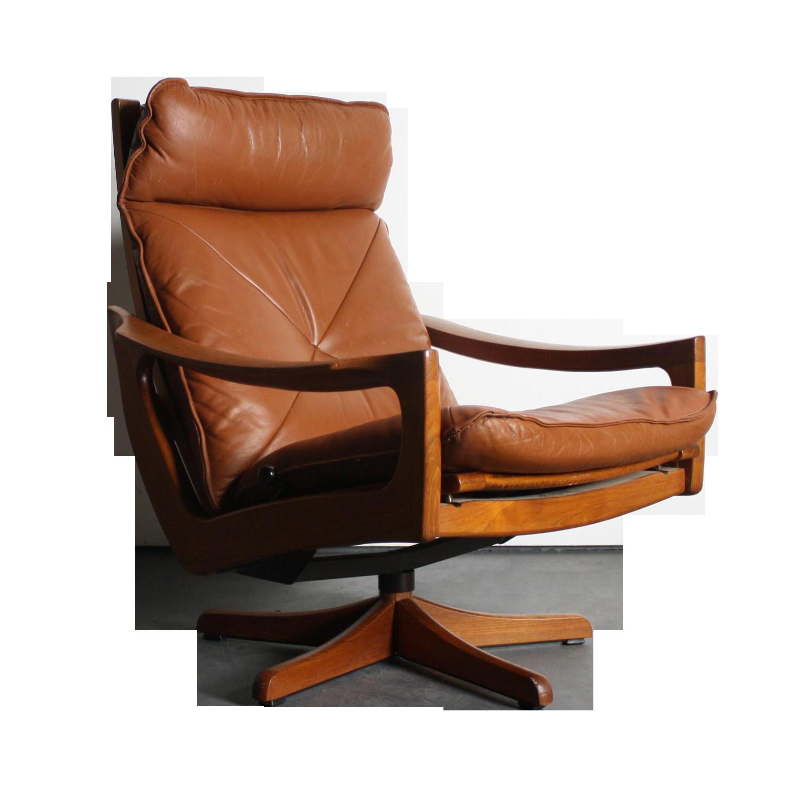 norwegian vintage office chair. Vintage Norwegian Leather Reclining Chair Office