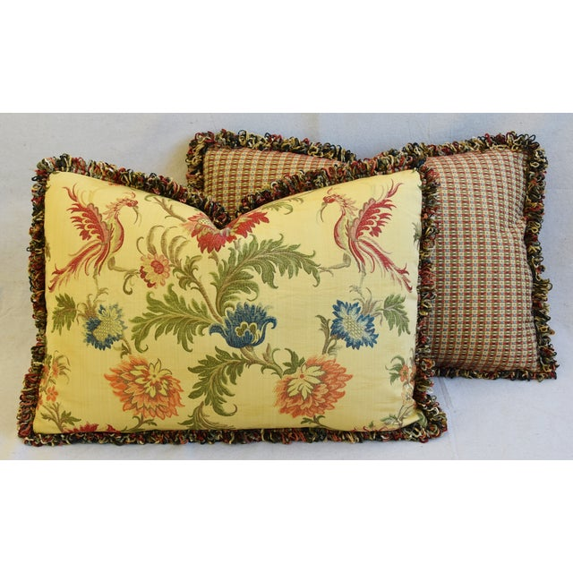 "Italian Coraggio Jacquard Feather/Down Pillows 24"" X 17"" - Pair For Sale - Image 12 of 13"