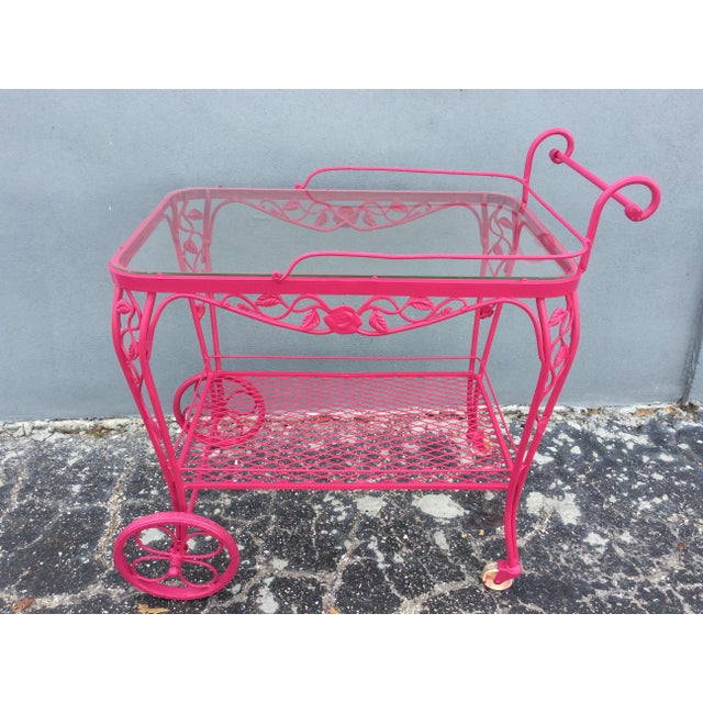 Hollywood Regency Vintage Mid Century Patio Bar Cart For Sale - Image 3 of 9