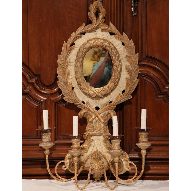 Italian Carved Wood & Iron Painted Sconces - A Pair - Image 5 of 10