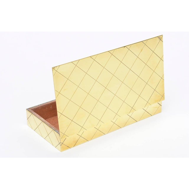 Tommi Parzinger Polished Diamond Criss Cross Brass and Wood Box - Image 7 of 9