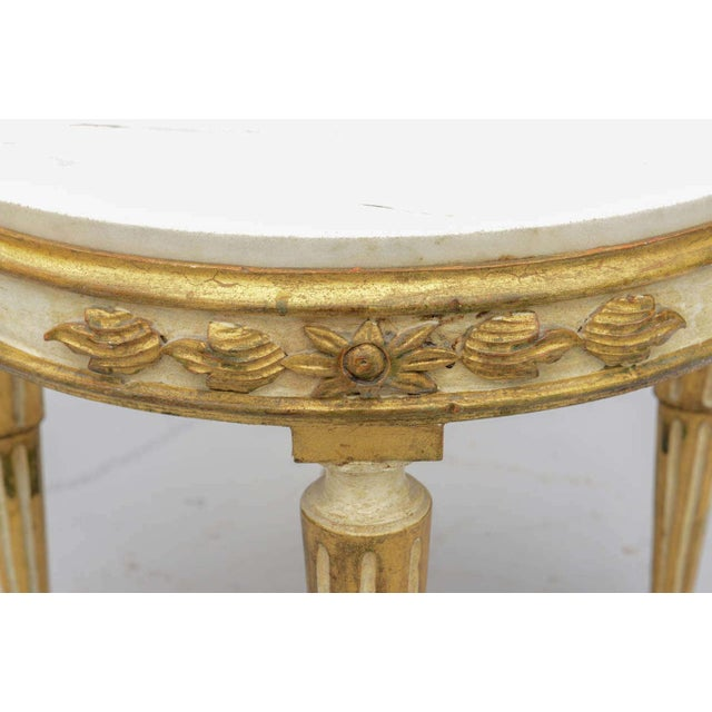 Wood Louis XVI Giltwood Accent Table With Carrara Marble Top For Sale - Image 7 of 10