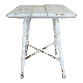 Cottage Primitive Painted Small Table or Plant Stand For Sale