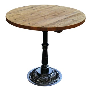 Round Industrial Floor Top With Ornate Base Bistro Table