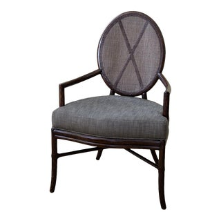 McQuire Oval X-Back Arm Chair by Barbara Barry For Sale