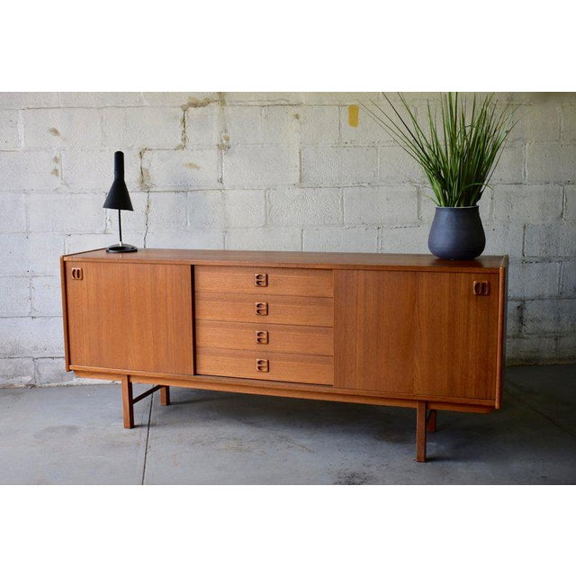 Brown Long Mid Century Modern Teak Danish Credenza Media Stand For Sale - Image 8 of 9
