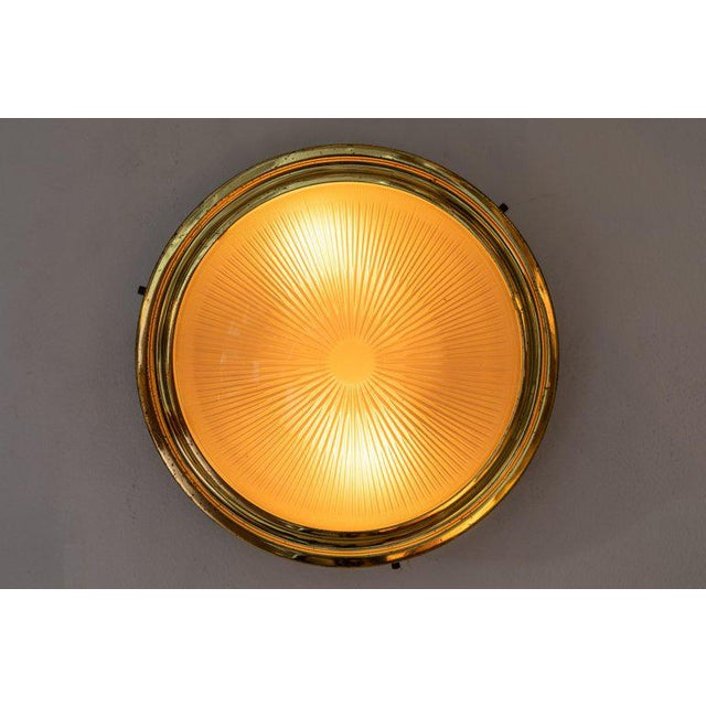 Metal 1960s Sergio Mazza Brass & Glass Wall or Ceiling Lights for Artemide - A Pair For Sale - Image 7 of 13