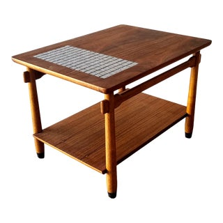 1960s Lane Two-Tiered Side Table With Mosaic Tile Inlay For Sale