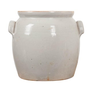 Large French Vintage Glazed Earthenware Crock For Sale