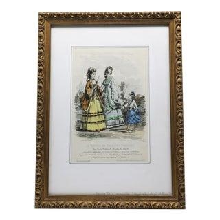 Hand Colored Fashion Illustration From Le Moniteur Des Nouveautes Parisiennes For Sale
