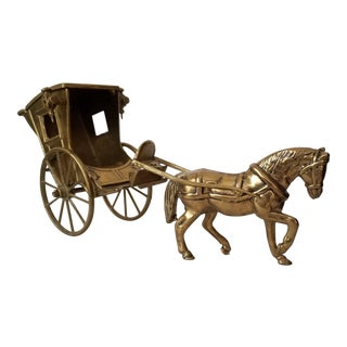 Mid Century Vintage Articulated Brass Horse and Buggy Model For Sale