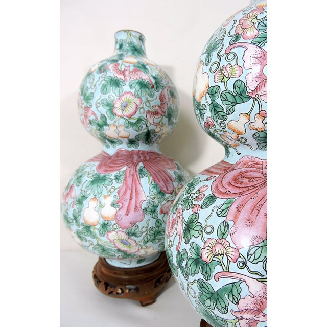 Metal Rare Enamelled 'Huluping' Chinese Double Gourd Pink and Blue Vases With Wood Stands - a Pair For Sale - Image 7 of 10