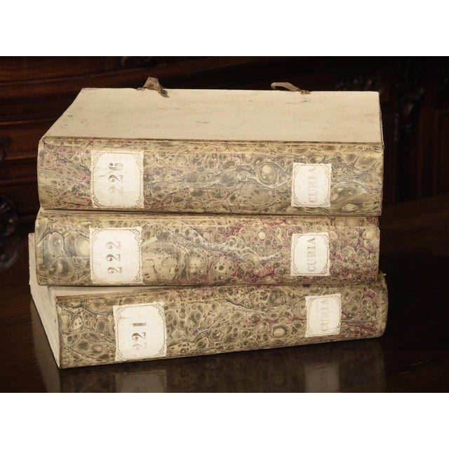 White Decorative Set of 3 Antique Faux Book Document Holders From Italy, C.1915 For Sale - Image 8 of 12