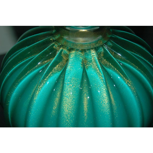 Murano Glass Three Footed Table Lamps Aqua Gold For Sale - Image 9 of 10
