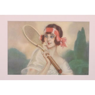 French Art Deco Tennis Beauty Red Bow For Sale