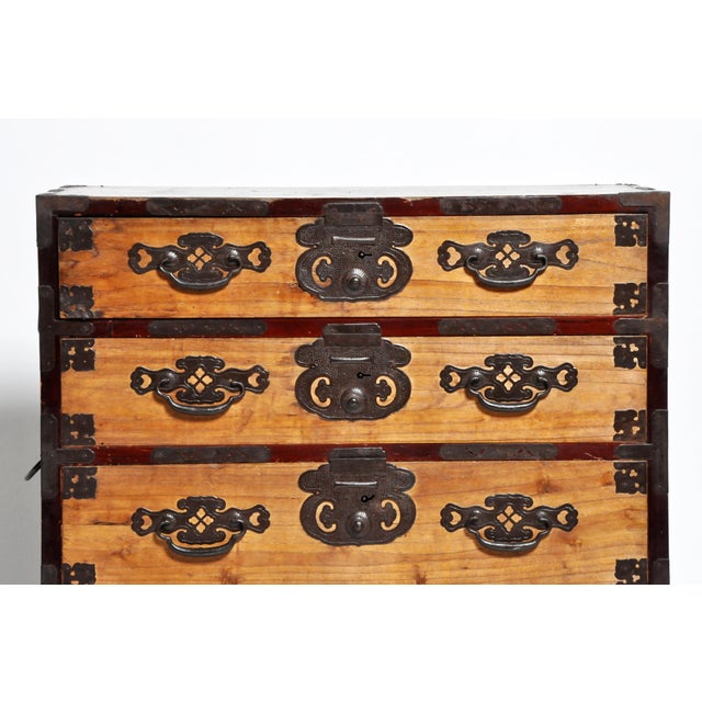 Japanese Two Piece Tansu Chest With Hand Forged Hardware For Sale - Image 11 of 13