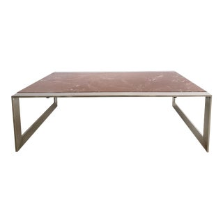 Vintage Modern Stainless & Rosso Barocco Marble Coffee Table For Sale