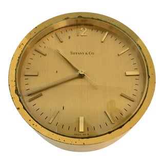 Tiffany & Co Modernist Brass Table Clock For Sale