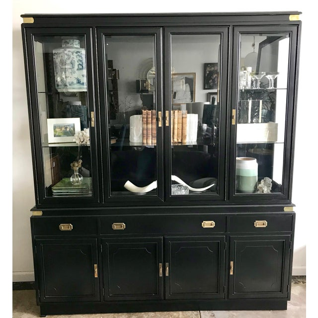 Gold 1950s Campaign Black Display/Curio Cabinet With Interior Lights For Sale - Image 8 of 8