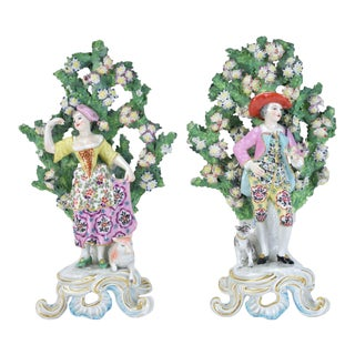 Late 19th Century Chelsea Man Style Samson Bocage Figurines - a Pair For Sale