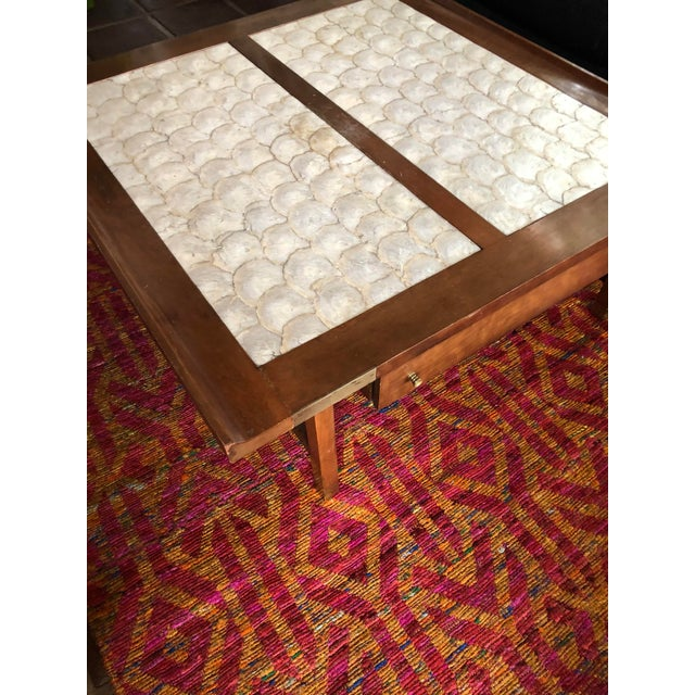 Hollywood Regency Mid-Century Hollywood Regency Teak and Mother of Pearl Square Coffee Table For Sale - Image 3 of 11