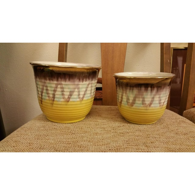 Yellow & Purple German Planters - A Pair - Image 2 of 8