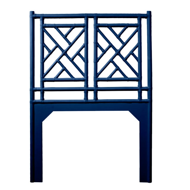 Chippendale Chippendale Headboard Twin - Navy Blue For Sale - Image 3 of 3