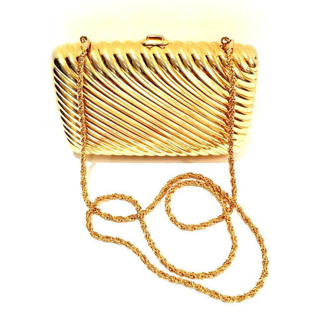 Gold 20th Century Judith Leiber Gold Ribbed Minaudière Box Clutch Evening Bag For Sale - Image 8 of 8