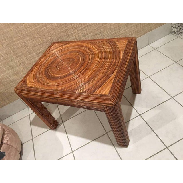 Pencil Reed Rattan Side End Table For Sale - Image 4 of 8