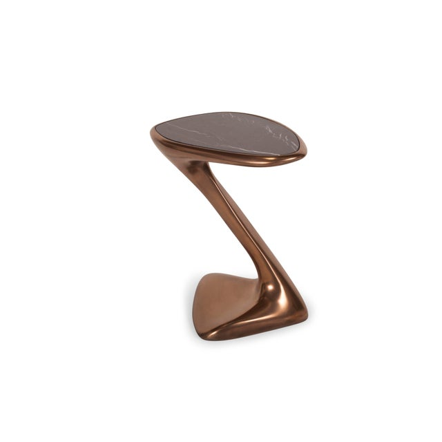 Bronze Finish Side Table with Top Black Marble.