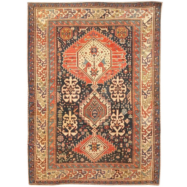Antique 19th Century Caucasian Shriven Rug For Sale