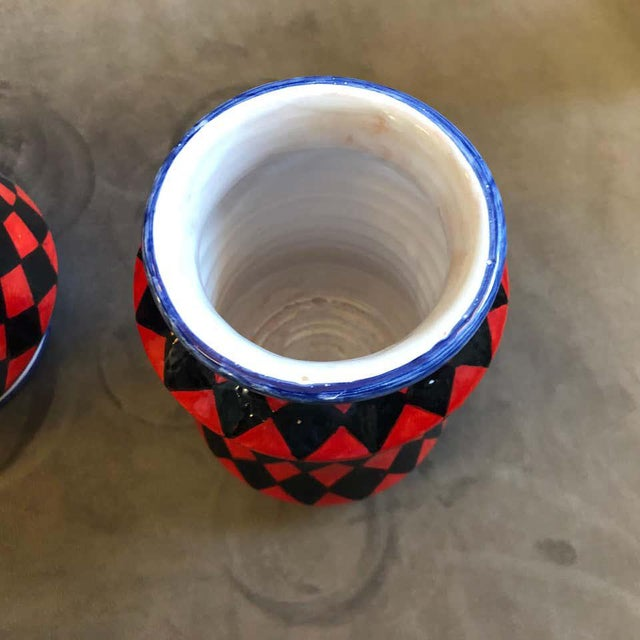 Mid-Century Modern Pieces Hand Painted Sicilian Terracotta Albarello Vases - Set of 3 For Sale - Image 3 of 11