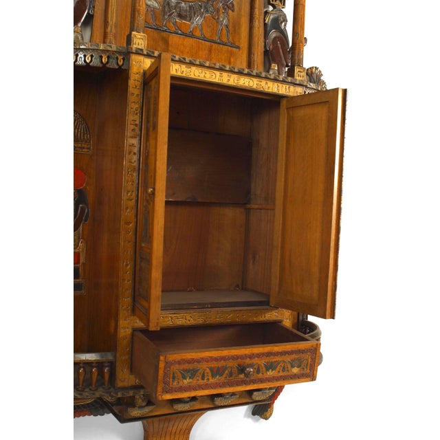 Egyptian Style Painted Hanging Wall Cabinet For Sale - Image 4 of 10