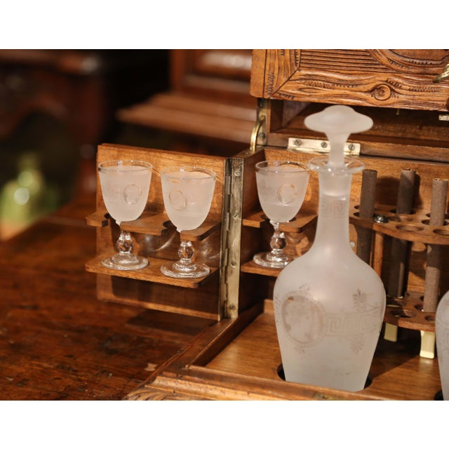 19th Century French Black Forest Carved Walnut Cave a Liqueur With Cigar Holders For Sale - Image 9 of 13