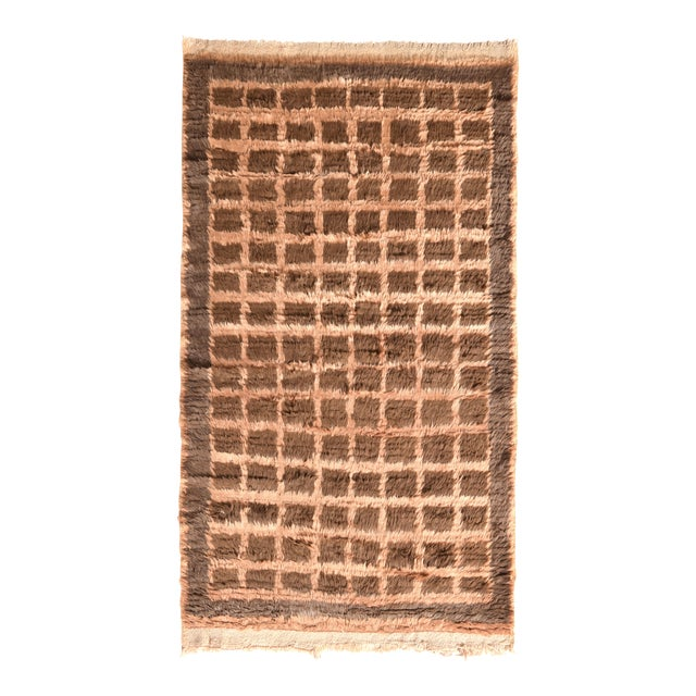 Hand Knotted Vintage Tulu Rug Beige Brown Shag Pile Geometric Pattern For Sale
