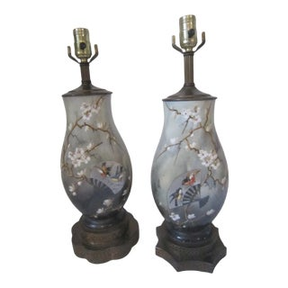 English Porcelain Lamps - a Pair For Sale