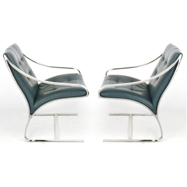 Four Bert England for Brueton Polished Steel & Cadet Blue Leather Lounge Chairs - Image 2 of 10