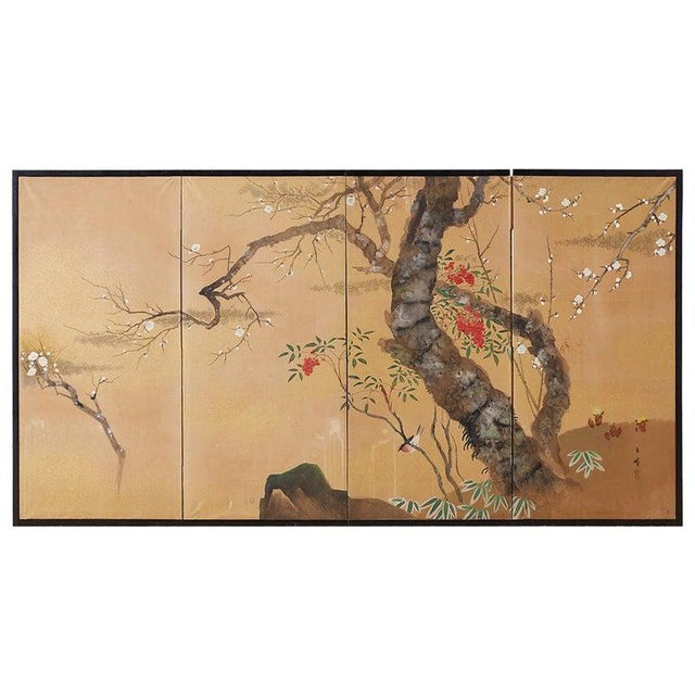 Japanese Four-Panel Screen Prunus Tree With Nandina For Sale - Image 13 of 13