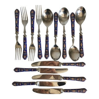 Moving Sale - Inlaid Enamel Flatware - 15Pieces