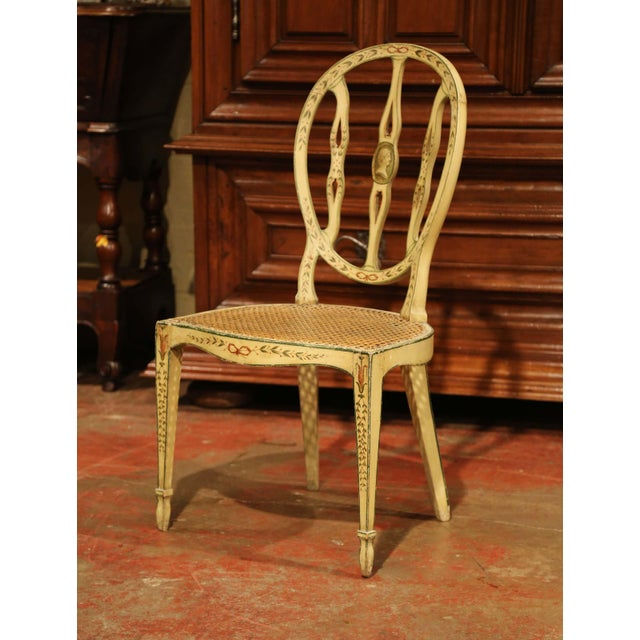 Mid-19th Century Vintage Hepplewhite Style Painted Chairs- Set of 4 For Sale In Dallas - Image 6 of 13