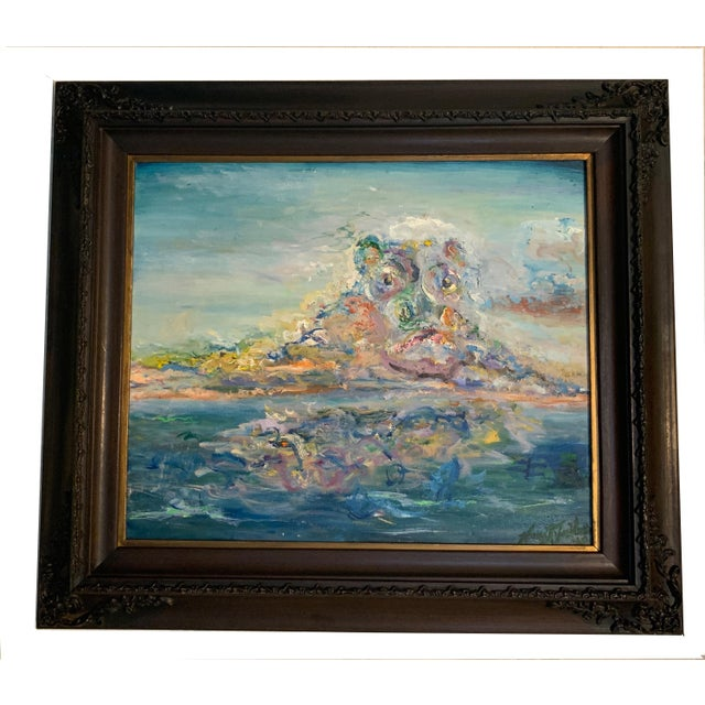 """""""Storm Brewing"""" Contemporary Seascape Oil Painting by Nancy T. Van Ness, Framed For Sale - Image 4 of 5"""