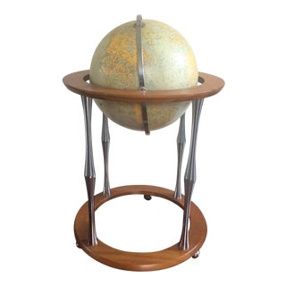 Mid Century Globe on Rolling Stand For Sale